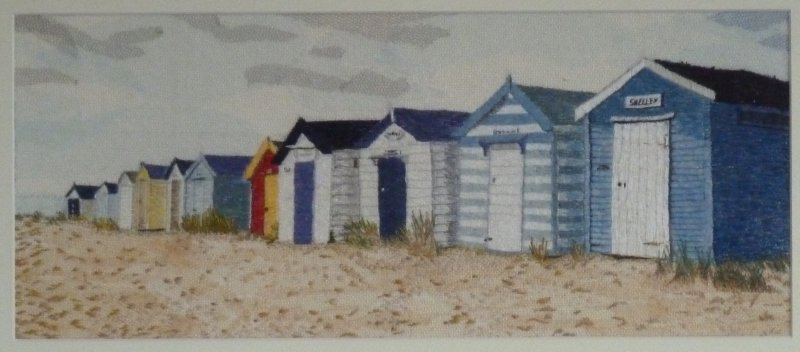 Beach Huts, Southwold - Embroidered Art produced in the Western Lakes © www.whicham.com
