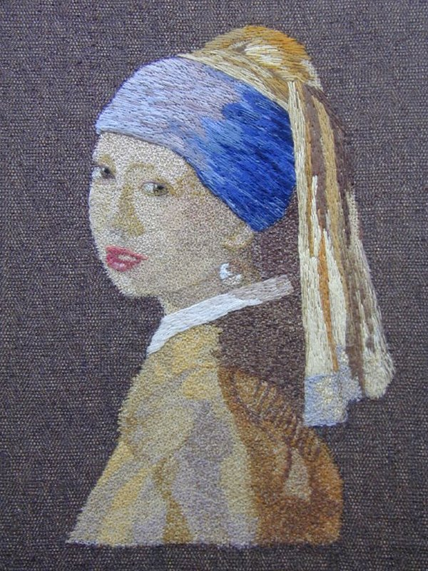 Vermeer, Girl with a Pearl Earring - Embroidered Art produced in the Western Lakes © www.whicham.com